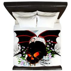 #Skull with #flowers and wings #King #Duvet