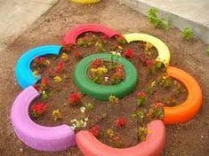 Resultado de imagen para jardines verticales con llantas