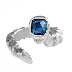 This unique styles features a textured band that wraps around the finger faced with a neutral deep blue crystal. Ring Ring, Blue Crystals, Deep Blue, Sapphire, Gemstone Rings, Gemstones, Band, Metal, Jewelry