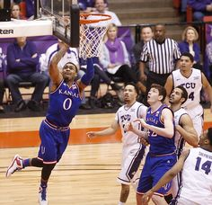 Kansas guard Frank Mason III (0) gets to the bucket against TCU during the first half at Wilkerson-Greines Activity Center on Wednesday, Jan. 28, 2015 in Fort Worth, Texas.