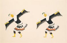 Eagle Dancers ca. 1917-1925 Awa Tsireh Born: San Ildefonso Pueblo, New Mexico Died: San Ildefonso Pueblo, New Mexico watercolor, ink, and pencil on paperboard sheet: 9 1/4 x 13 3/4 in. (23.5 x 34.8 cm) Smithsonian American Art Museum