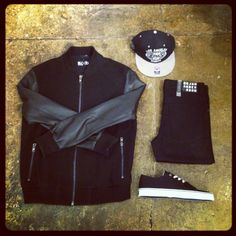 Men's outfit inspiration - all black everything. Blood Brother bomber jacket, Creative Recreation Cesario Lo XVI trainers, 47 brand black snapback, black jeans