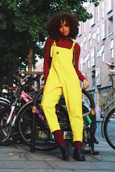 'Luna' Twill Cotton Dungarees in Lemon Yellow