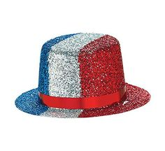 """Amscan Mini Patriotic Glitter Hat Costume Party Headwear, Multi Color, 4.7 x 4.3"""" ** Learn more by visiting the image link."""