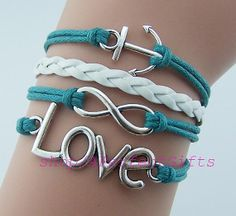 LOVE bracelet,infinity bracelet,anchor bracelet,white leather teal rope,gift for bestfriend. by APerfectGifts on Etsy, $4.99