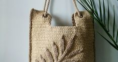 Summer Palm Leaf bag – Buy at Masters' Fair – Knitted Bags, Crochet Bags, Light Ombre, Summer Handbags, Hand Gloves, Buy Bags, Toe Socks, Ombre Effect, Reusable Tote Bags