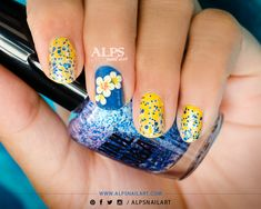 Yellow Nails for Day 3 of #31DC2014 by @alpsnailart  Wanna know how to create 2 manicure looks from 1 nail design? Check out my blog post to see how I converted party nails into day time nails within few minutes.