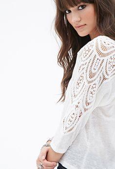 Crocheted Linen Dolman Top | Forever 21 - 2000100732