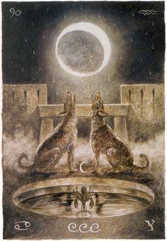 Luis Royo - Major Arcana: The Moon ( The Labyrinth Tarot') Tarot Significado, The Moon Tarot Card, Vampires, Arte Tribal, Tarot Major Arcana, Luis Royo, Spanish Artists, Fantasy Illustration, Digital Illustration