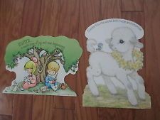 Easter Lamb Joan Walsh Anglund Cut Out Vintage Paper Decorations Lot Hallmark