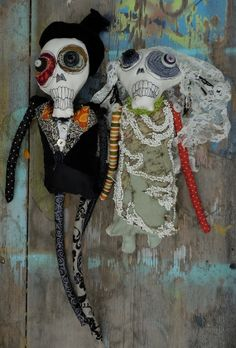 Day of the Dead skeleton Bride and Groom handmade by monstermaud