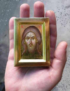 Jesus Christ icon hand paintedminiature orthodox by ArtByChimevi Catholic Gifts, Catholic Art, Religious Gifts, Byzantine Icons, Byzantine Art, Unique Birthday Gifts, Religious Icons, Orthodox Icons, Sacred Art