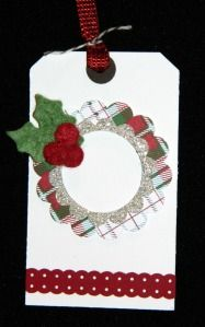 This is a terrible pic but Bonnie Thurber made some cute and easy tags with the Felt accents  in the Holiday Mini catalog
