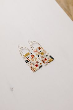 one-of-a-kind beadwork jewelry made by Minnesota artist Madison Holler Brick Stitch Earrings, Bead Earrings, Beading Patterns, Beading Tutorials, Bracelet Patterns, Embroidery Patterns, Weaving Textiles, Bijoux Diy, Mode Style