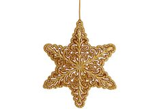 One Kings Lane - Christmas Is Coming - S/6 Snowflake Ornaments, Gold