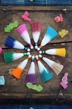 Multi Color Dip Dye Ombré Silky Luxe Tassel, Handmade Designer Jewelry Making…