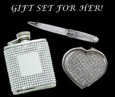 Awesome Birthday Gifts: Glitter Galore Heart Compact Mirror and White Pen w/ Crystal and Flask