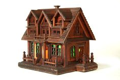 early 20th century, pine, lighted, folky house