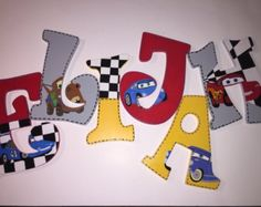 Disney Cars letters by CustomABCsbyBrittH on Etsy Painting Wooden Letters, Painted Letters, Boy Car Room, Character Letters, Cars Birthday Parties, 4th Birthday, Name Art, Letter A Crafts, Disney Crafts