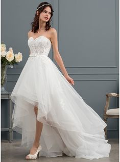 A-Line Sweetheart Asymmetrical Tulle Wedding Dress With Beading Sequins Bow(s) - Wedding Dresses - JJ's House Lace Wedding Dress, Tulle Wedding, Wedding Party Dresses, Bridal Dresses, Lace Dress, Prom Dresses, High Low Wedding Dresses, Tulle Lace, Mode Adidas