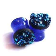 Copper Blue Druzy Double Flare Glitter Acrylic Plugs
