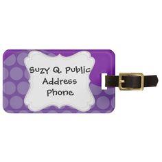 Pretty Purple Big Polka Dots Wave Pattern Gifts Luggage Tag SOLD on Zazzle