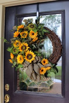 Sunflower wreath, Summer wreath for Front Door with Sunflowers, Fall Sunflower decor, Farmhouse wrea - Baloo - Dekoration Deco Mesh Wreaths, Holiday Wreaths, Door Wreaths, Autumn Wreaths For Front Door, Ribbon Wreaths, Winter Wreaths, Spring Wreaths, Sunflower Door Hanger, Sunflower Wreaths