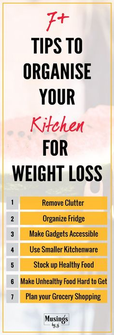 Healthy, Easy & Useful Tips to organise your kitchen for weight loss... because weight loss begins from the kitchen. Organise your Kitchen Cabinets, Cupboards, Drawers, Refrigerator. Remove Clutter from your Kitchen Counter, Shelves etc. Make your Kitchen