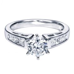 1.25cttw Princess Cut Channel Set Cathedral Diamond Engagement Ring