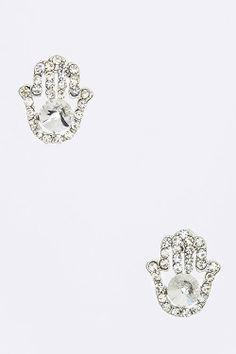 $10 JEWELRY SPECIAL :: CRYSTAL HAMSA HAND EARRINGS (SILVER TONE) - $10