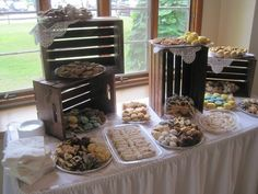 rustic country wedding lace crate cookie table