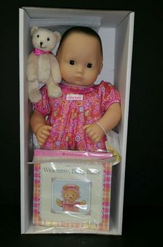 American Girl Bitty Baby Black Hair Brown Eyes Doll with Book and Bear 3+ #Dolls