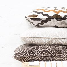Hand block printed pillows by Walter G Textiles Bed Pillows, Cushions, Cushion Fabric, Soft Furnishings, Brown And Grey, Baskets, Ethnic, Textiles, Beige