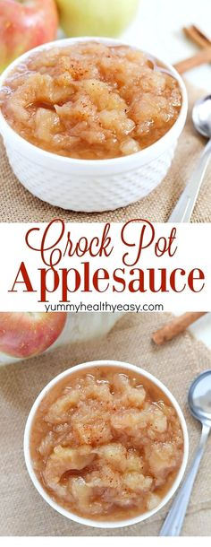 Homemade Crock Pot Applesauce is the perfect way to celebrate fall! This applesauce recipe is so simple and uses up all of those extra apples you have sitting around. Easy, only 5 ingredients, and inc (Apple Recipes Crockpot) Crock Pot Recipes, Crock Pot Cooking, Fall Recipes, Cooking Recipes, Cooking Tips, Pie Recipes, Recipies, Apple Crockpot Recipes, Slow Cooker Recipes Dessert