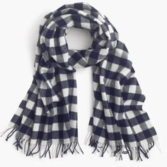 """J.Crew Buffalo Plaid Scarf The warmest wool scarf in a classic buffalo check plaid = a no-brainer (especially when it's less than 30 degrees out). Viscose/nylon/lambswool/cashmere. 80""""L x 21""""W with 2"""" fringe. J. Crew Accessories Scarves & Wraps"""