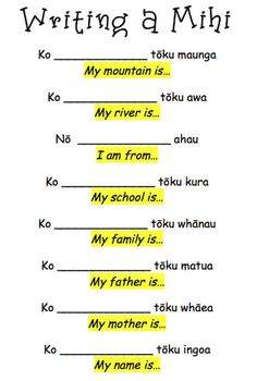 Everything flows from the mountain, through the river. Then the people settle, so this is the order in which we say our mini. Below is the template we have used to write our mihi's. School Resources, Learning Resources, Learning Stories, Maori Songs, Treaty Of Waitangi, Waitangi Day, Maori Patterns, Single Sein, Primary Teaching