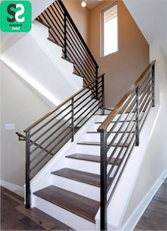 Modern Staircase Design Ideas - Stairs are so usual that you don't provide a second thought. Look into best 10 instances of modern staircase that are as stunning as they are . Modern Stair Railing, Stair Railing Design, Metal Stairs, Stair Handrail, Staircase Railings, Modern Stairs, Banisters, Staircase Ideas, Staircase Remodel