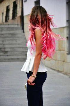 curly pink ombre hair extensions Picture from pink and purple. Black Hair Ombre, Ombre Hair Color, Pink Hair, Hair Colors, Orange Ombre, Ombre Nail, Sombre Blond, Blond Ombre, Blonde Pink