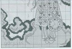 the white rabbit - schema 2 Stitch Doll, Stitch 2, Cross Stitch Boards, White Rabbits, Cross Stitching, Bookmarks, Cross Stitch Patterns, Crochet, Embroidery