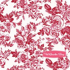 Gallery in Red Red Rose Bouquet on White Yardage SKU# 0268-111