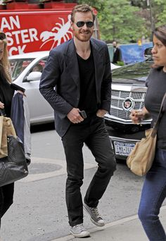 Michael Fassbender arrives at the Greenwhich Hotel in Tribeca in New York CIty