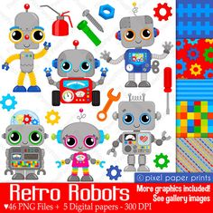 Retro Robots - Clip art and Digital Paper Set - Robot clipart