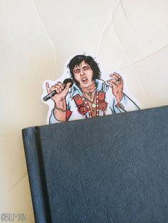 """In """"honor"""" of Elvis birthday. Fat Elvis bookmark."""