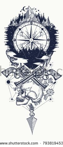 Compass and guns tattoo and t-shirt design. Wild west art. Symbol of wild west, robber, crime Outdoors t-shirt design