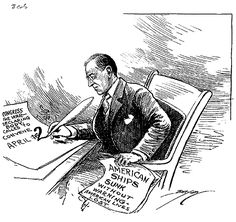 This cartoon, featuring President Woodrow Wilson, was in response to continued German U-boat attacks at sea in World War I. (March, 21, 1917)