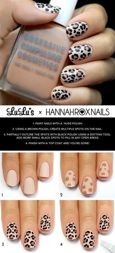 Awesome Nail Art Patterns And Ideas - Leopard Print Nail Tutorial - Step by Step DIY Nail Design Tutorials for Simple Art, Tribal Prints, Best Black and White Manicures. Easy and Fun Colors, Shapes and Designs for Your Nails. Cheetah Nail Designs, Leopard Print Nails, Fall Nail Art Designs, Leopard Prints, Tribal Prints, Cheetah Nail Art, Tribal Print Nails, Beige Nail Art, Leopard Spots