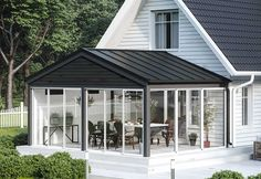Roof Design, Patio Design, House Design, Conservatory Design, Modern Fence Design, Home Greenhouse, Swedish House, House Extensions, House Roof