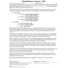 Modeling Contract - Model Agreement Template (Form with Sample ...