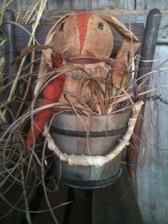 Primitive Rag STuffed Hand made feed Sack Bunny Rabbit doll wood bucket light up #NaivePrimitive #skiser
