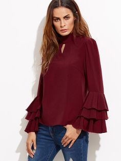 Burgundy Keyhole High Neck Layered Bell Sleeve Blouse
